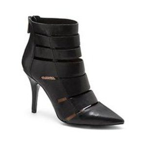 Vince Camuto Geena Black Leather Gladiator Booties